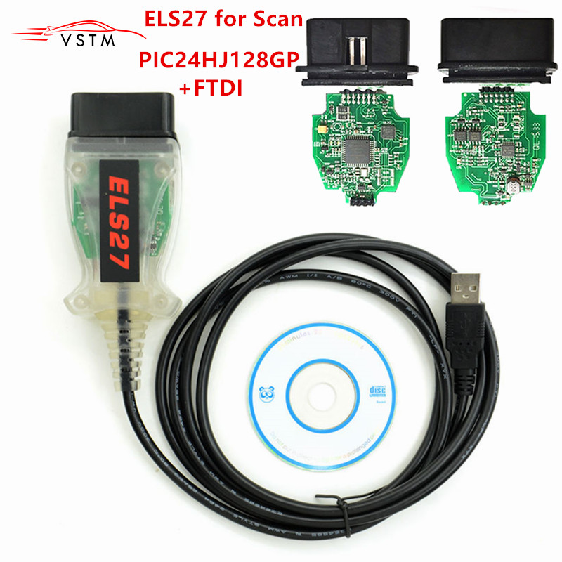 2019 Newest ELS27 FORScan ELS 27 Scanner Green PCB FTDI Chip+PIC24HJ128GP Free Shipping