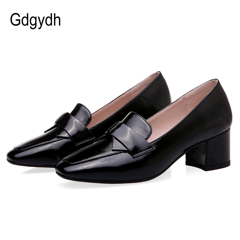 Gdgydh Spring Autumn Ladies Shoes With Block Heels Office Lady Square Toe Fashion Bow-knot Comfortable Single Shoes Plus Size 43