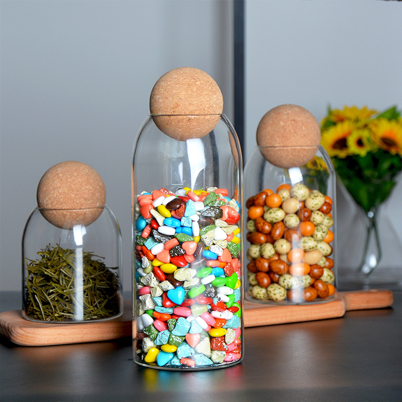 4pcs/set cookie jar glass container  Ball cork lead-free glass bottle storage tank glass jars and lids candy coffee jars
