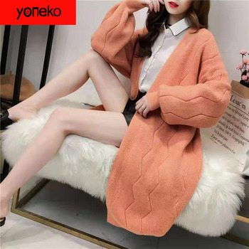 Yoneko Newest Womens Long Section Lanterns Sleeves Sweater Coats Vneck Loose Cardigans Knitted Jackets Long Sleeves Knit Tops