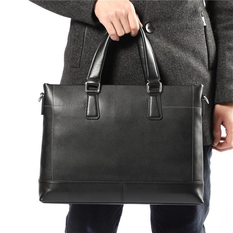 Nesitu High Quality New A4 Black 100% Genuine Leather Office Men Briefcase Portfolio Business Shoulder Messenger Bags M257905