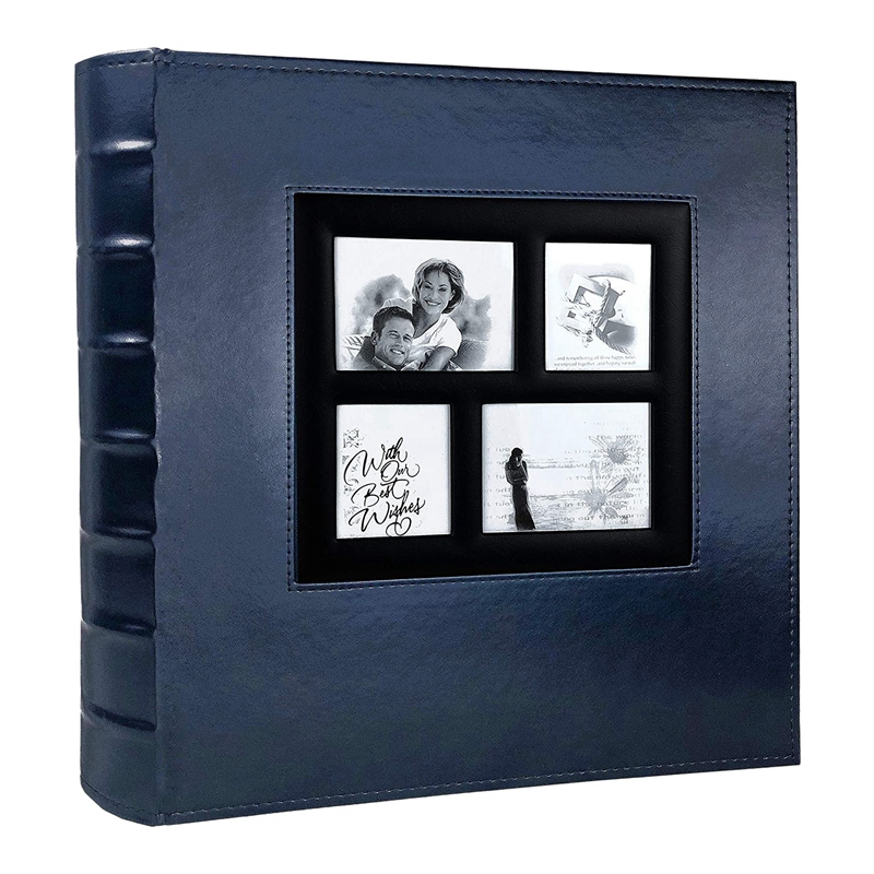 Photo Album Holds 4X6 400 Photos Pages Large Capacity Leather Cover Binder Wedding Family Baby Photo Albums Book (Blue) image