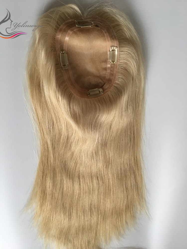 Natural Looking Human Hair Jewish Topper Top Quality Full Hantied Hair Pieces For Women