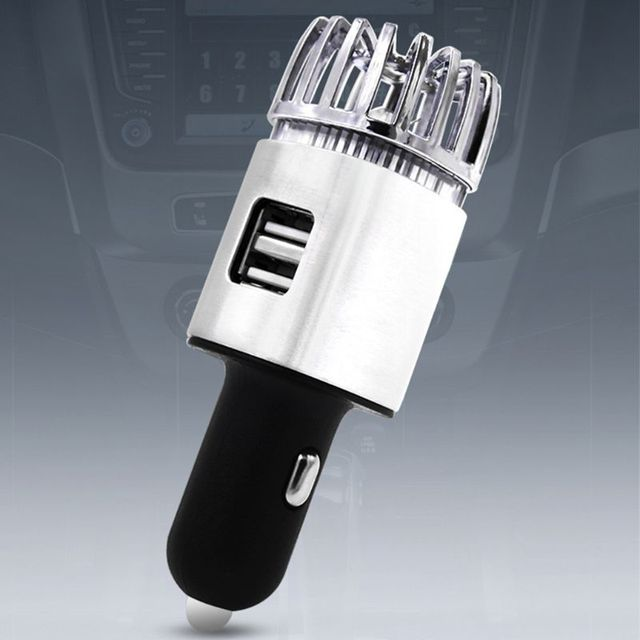 2 in 1 Car Dual USB Fresh Air Ionic Purifier Oxygen Bar Ozone Ionizer Cleaner L9BC 4