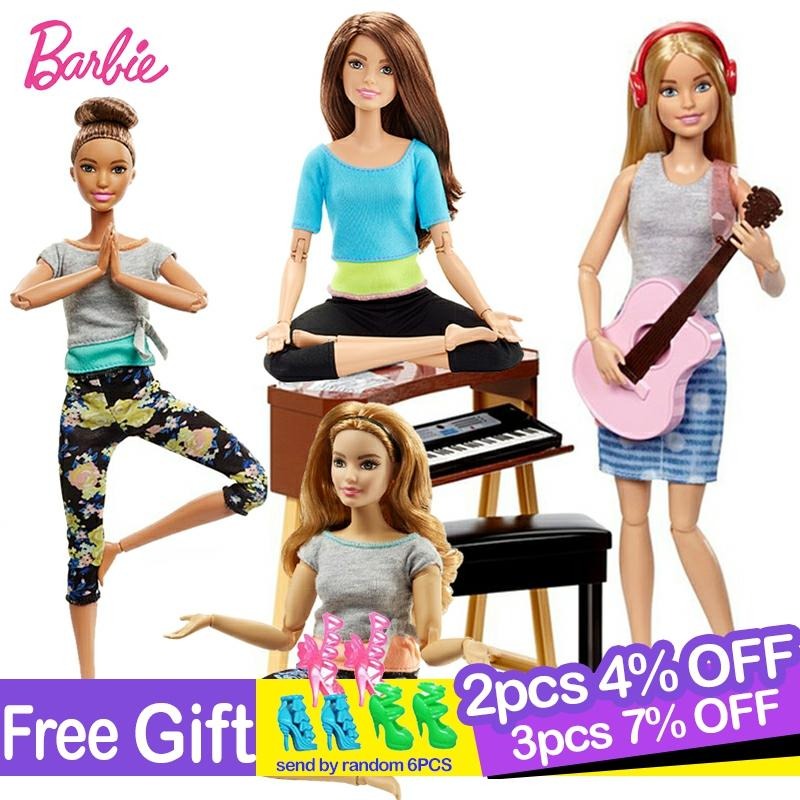5 arten Original Barbie Joint Bewegung Puppe Gymnastik Yoga Tänzerin Fußball Player Barbie Puppe Kinder Pädagogisches Spielzeug Mädchen Geschenk