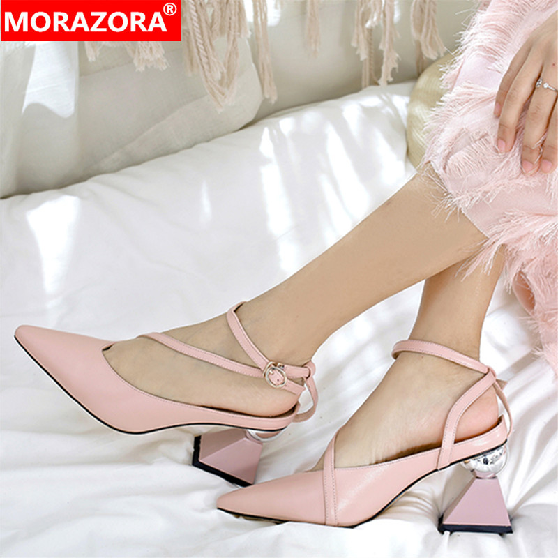 MORAZORA High Quality Genuine Leather Sandals Women Shoes Strange High Heels Party Wedding Shoes Woman Fashion Footwear