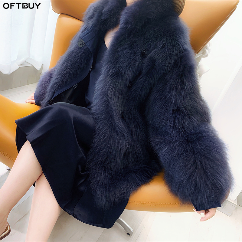 OFTBUY 2019 Winter Jacket Women Casual Thick Warm 100% Real Fur Coat Luxury Natural Fox Fur Outwear Streetwear Korea Fashion New