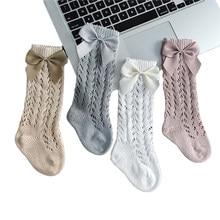 Bébé bambin filles chaussettes solide respirant maille coton chaussettes nouveau-né moyen Tube 3/4 genou haut Style espagnol chaussettes pour les filles
