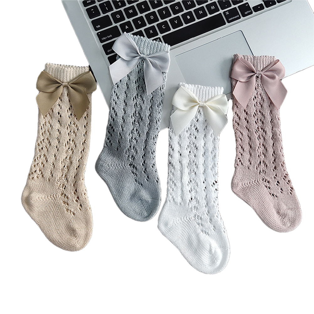 Calcetines de malla de algodón transpirables para bebés, medias de tubo medio para recién nacidos, calcetines de estilo español hasta la rodilla, 3/4