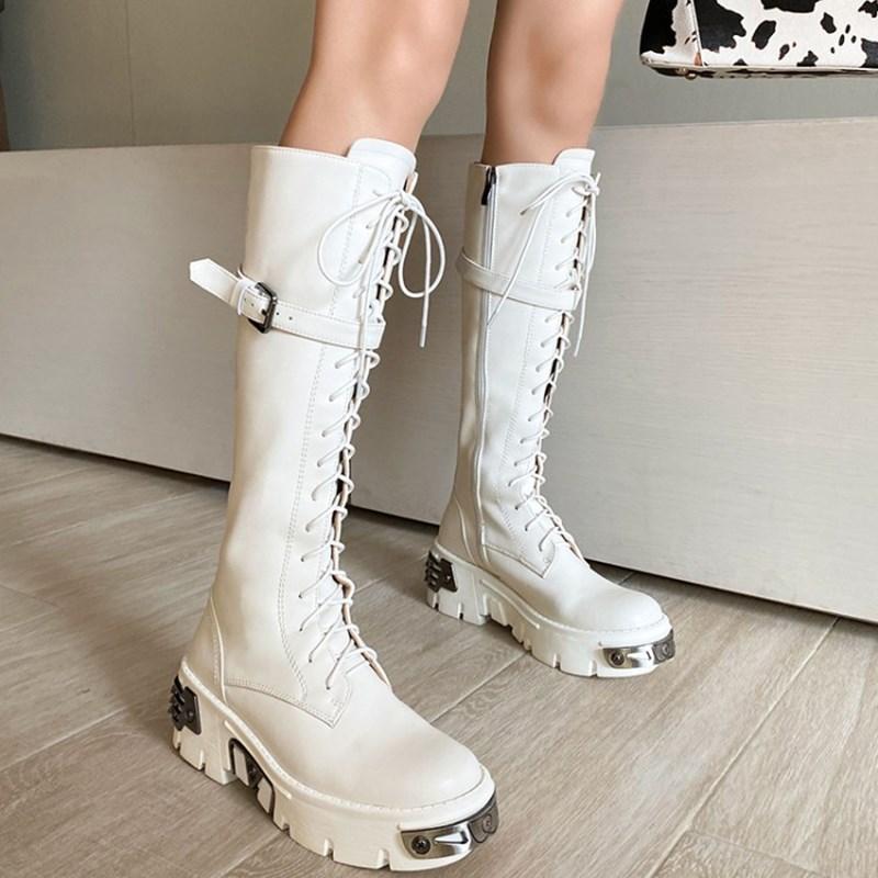 Clearance SaleBoots Women Platform Stivali Thick-Bottom Zipper-Plus Mid-Calf Mujer Fashion Prova Perfetto-Buckle