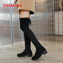 ENMAYLA 2019 Over The Knee Boots Basic Round Toe Stretch Fabric Lace-Up Winter Women Thigh High Shoes 34-43