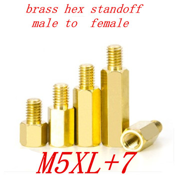 5pcs/lot m5 M5*L+7 male to female brass standoff spacer coupling nut M5*8/10/12/15/20/25/30/35/40/45/50/55/60/70/80/90/100 image