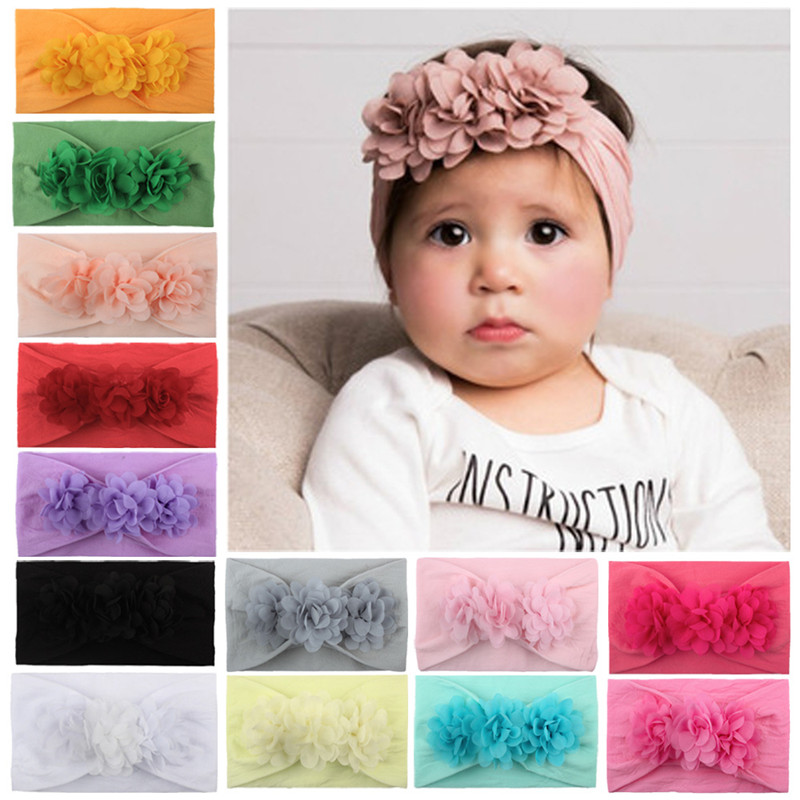 Baby Girl Headband 13 Colors Infant Hair Accessories Clothes Band Flower Newborn Floral Headwear Tiara Child Headwrap Hairband