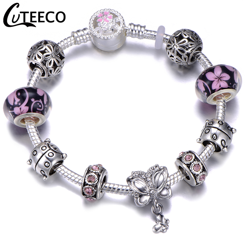 H36fd5d385ac94973a84e595acbab6d41e - CUTEECO Antique Silver Color Bracelets & Bangles For Women Crystal Flower Fairy Bead Charm Bracelet Jewellery Pulseras Mujer