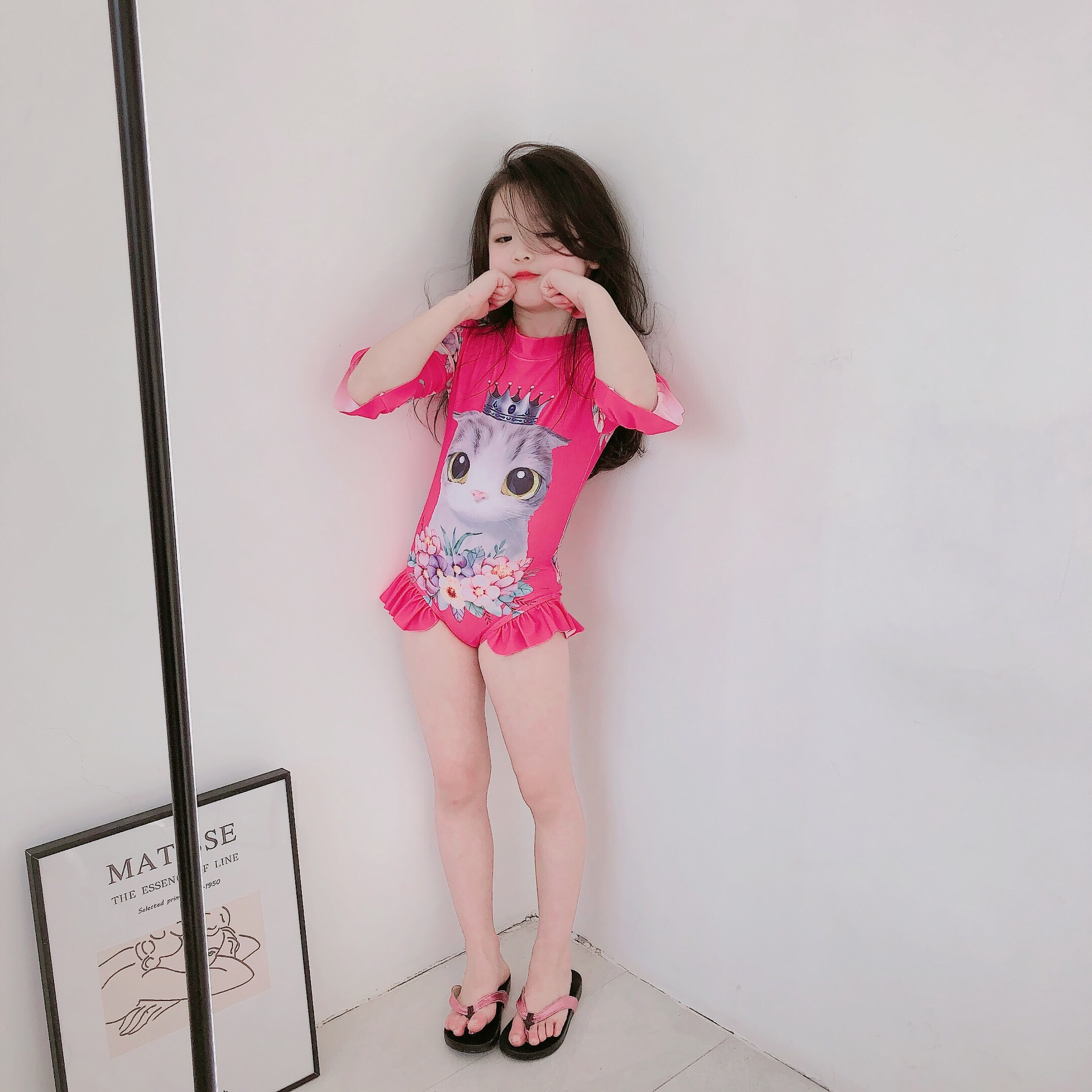 UV Baby Girls Kids Cute Long Sleeve Cat Swimsuit Rash Guard Bathing Suit UPF 50