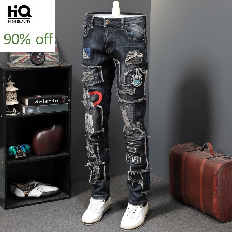 2020 New Designer Men Jeans Famous Brand Luxury Embroidered Jeans Slim Fit Mens Hole Ripped Biker Straight Denim Pencil Pants