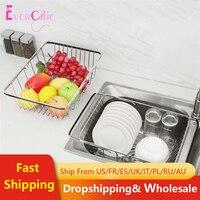 1 pc pia dreno cesta expansível aço inoxidável rustproof lavagem cesta prato rack de secagem dreno prato para frutas vegetais dis