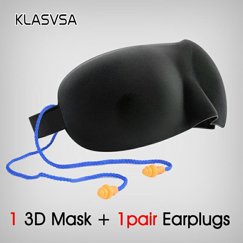 KLASVSA 3D Sleeping Mask For Sleep Earplugs Eye Masks Massager Anti Noisy Beauty Relax Relax Bandage Eyepatch Travel Eyeshade