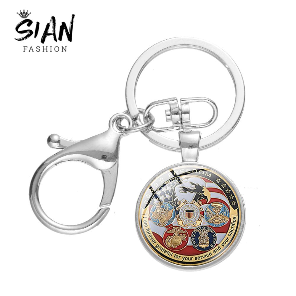 SIAN Vintage USA Important Department Logo Key Chain Navy Air Force Medal Lobster Clasp Pendant USAF <font><b>USMC</b></font> High Quality Key <font><b>Ring</b></font> image