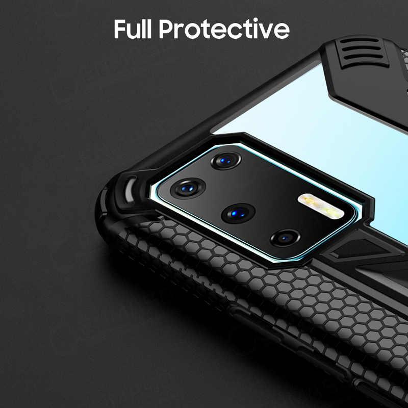 Shockproof Armor Case untuk Huawei P40 P30 Pro Case Cover Mewah Berdiri Mobil Cincin Telepon Kembali Menutupi untuk Huawei P30 lite Kasus Tritone