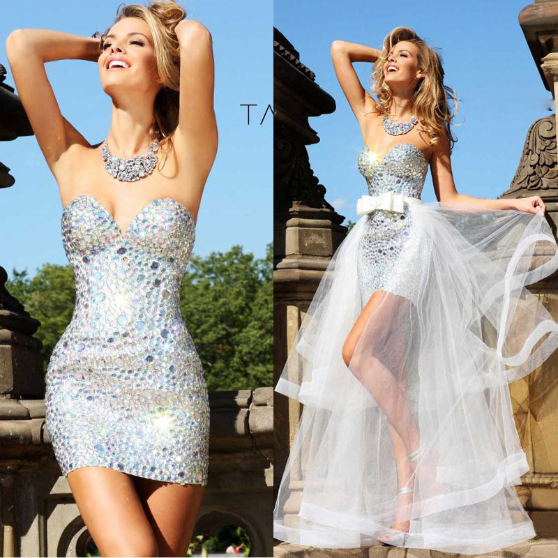 Free Shipping 2018 New Fashion Short Sexy Silver Luxury Crystal Rhinestone Party Prom Gown Detachable Skirt Bridesmaid Dresses