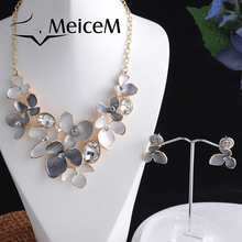 MeiceM Fashion Crystal Flower Choker Necklaces Set High Quality Brand Jewelry  for Party Girl Women Alloy Necklace Dropshipping