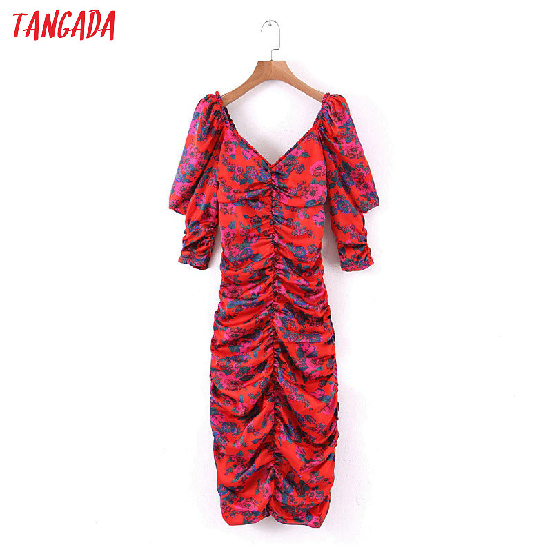 Tangada Fashion Women Flowers Print Pencil Dress Backless Puff Short Sleeve Ladies Vintage Sexy Dress Vestidos 1J15