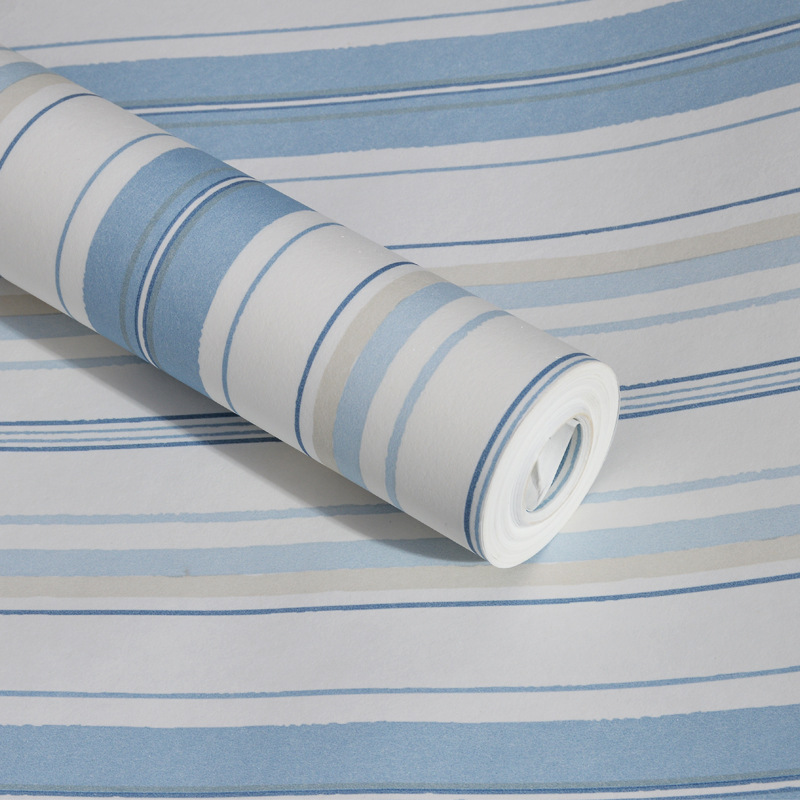Mediterranean Blue Stripes CHILDREN'S Room Bedroom Wallpaper Modern Minimalist Lines Kindergarten Theme Hotel Wallpaper