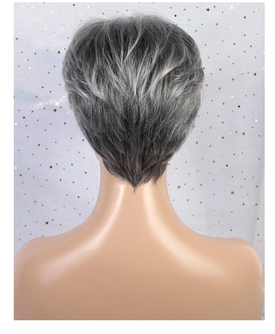 Haircube синтетические короткие прямые волосы парики Pixie срезанные серые цвета 50% человеческие волосы Омбре блики сторона челка смесь парик для женщин