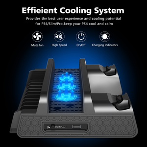 Image 5 - OIVO PS4/PS4 Slim/PS4 Pro Vertical Cooling Stand Dual Controller Station Chargers Game storages LED Fan For SONY Playstation 4
