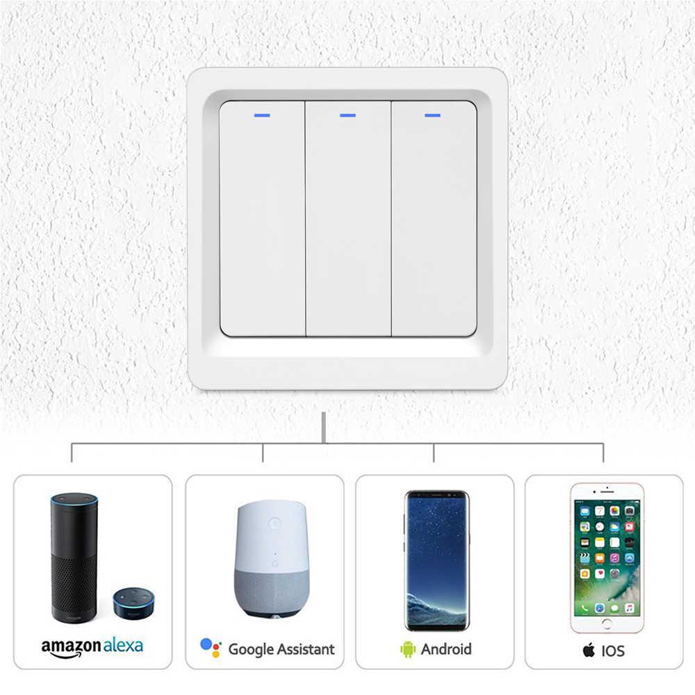 WiFi ścianie lampka wciskana przełącznik Alexa Google domu umożliwić Tuya Smart życie APP sterowania ue 1 Gang 2/3 gangi inteligentne przełączniki automatyki