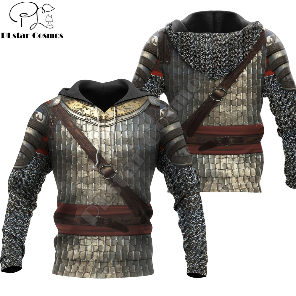 3D Printed Chainmail Knight Medieval Armor Men Hoodie Harajuku Fashion Hooded Sweatshirt Unisex Jacket Cosplay hoodies QS-003