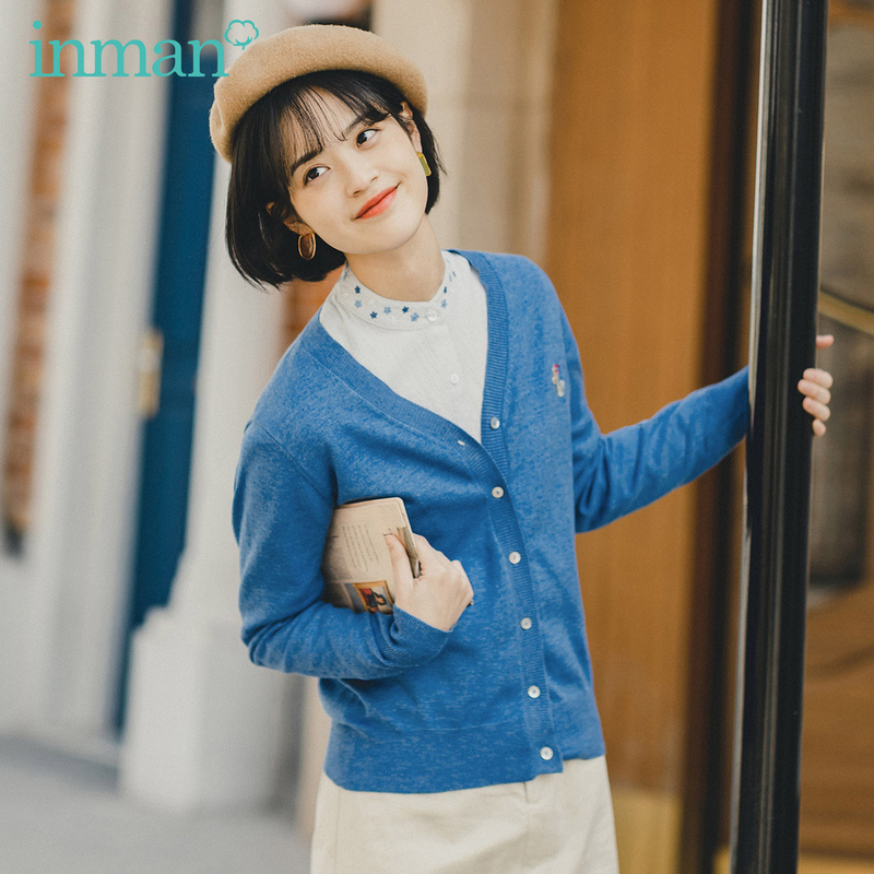 INMAN 2020 Spring New Arrival Japanese Style Literary All-match Girlish Embroidered Cardigan Thin Knitwear