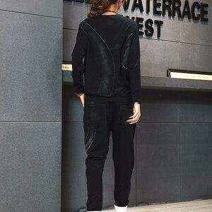 Image 2 - Max LuLu 2019 Autunno Coreano di Modo Dellannata Delle Signore A Due Pezzi Set Delle Donne Patchwork Magliette E Camicette Pantaloni Stile Harem Casual Tute Più Il Formato