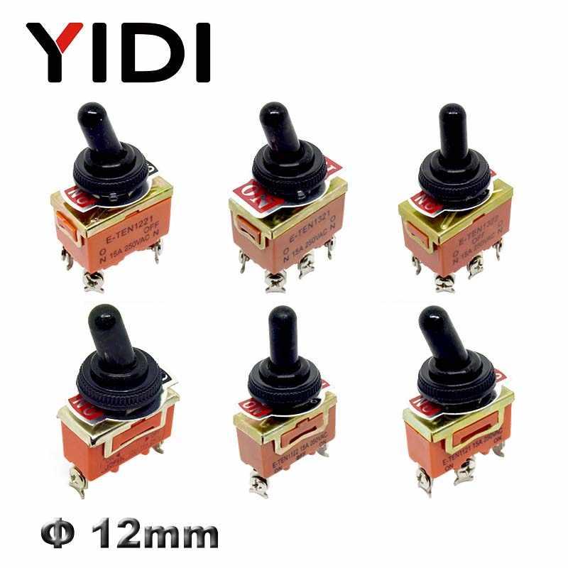 10PCS Mini Interruptor de Palanca E-TEN1321 AC 250V 15A ON-ON 6 Pines Interruptor de Palanca de 2 Posiciones con Junta y Tuerca