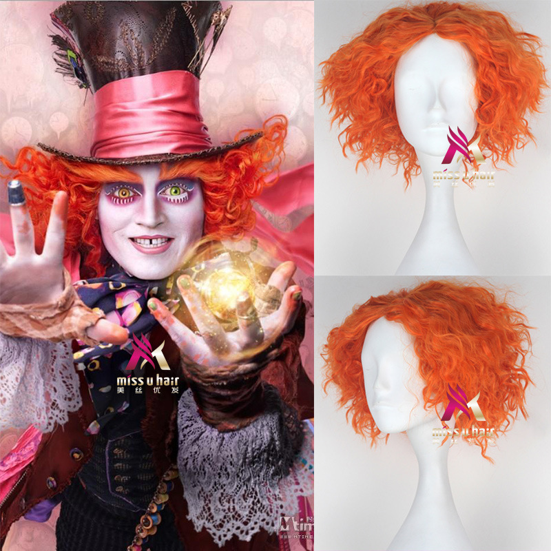 Alice In Wonderland Two Mad Hatter Tarrant Hightopp Wig Short Curly Orange Hair Role Play Halloween Alice Through Wig Cap
