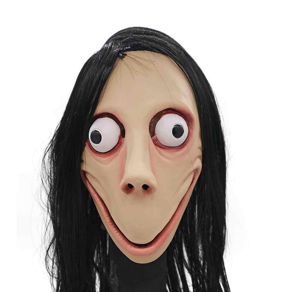 New Death Gioco MOMO Maschera No Bang Stile SPAVENTOSO Maschera Tern di Halloween Fantasma Femminile Parrucca Maschere Del Partito di Festival di Gioco Forniture