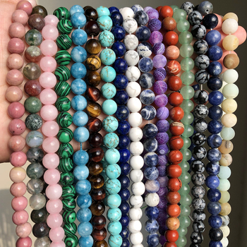 Natural Stone Round Tiger Eye Amazonite Lava Turquoises Agates  Loose Mineral Beads for Jewelry Making DIY Handmad Bracelet 15''