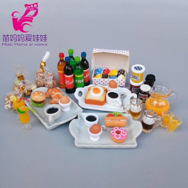Mininature Food Drink Model Kitchen Breakfast Dessert For Barbie Doll Blythe Doll House Diy Accessories