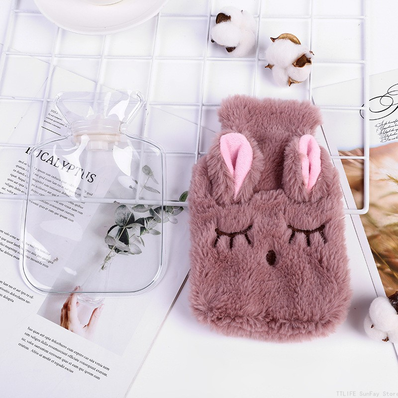 Hot Cute PVC Stress Pain Relief Therapy  Hot Water Bottle Bag with Knitted Soft Cozy Cover Winter Warm Heat Reusable Hand Warmer