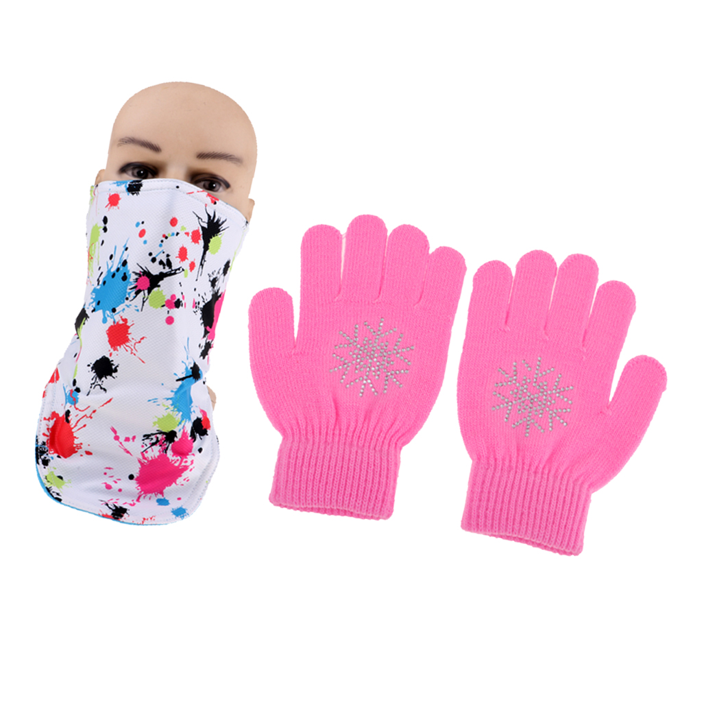 Kids Winter Windproof Double-Layer Face Mask Wrap Neck Warmer And Magic Stretch Gloves Glove With Snowflake Crystals