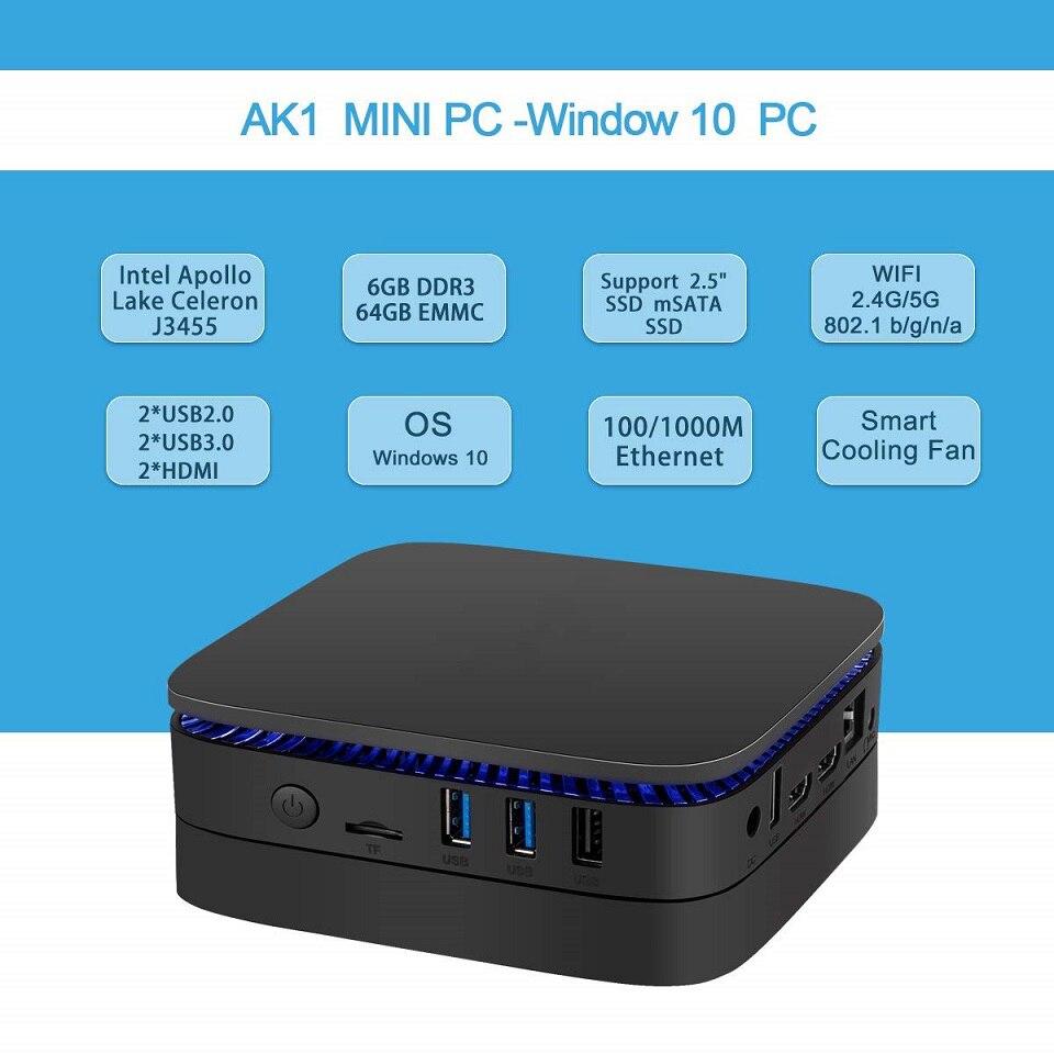 AK1 Mini PC for Windows 10 OS 6GB RAM 64GB SSD and Intel Celeron Apollo Lake J3455 Processor 1