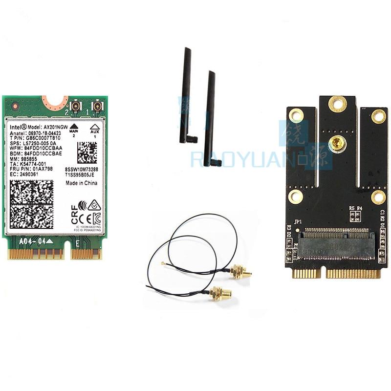 Dual Band 2400Mbps Wireless For Intel Wi-Fi 6 AX201 Bluetooth 5.0 NGFF Key E CNVi Wifi Card AX201NGW 2.4Ghz/5Ghz 802.11ac/ax