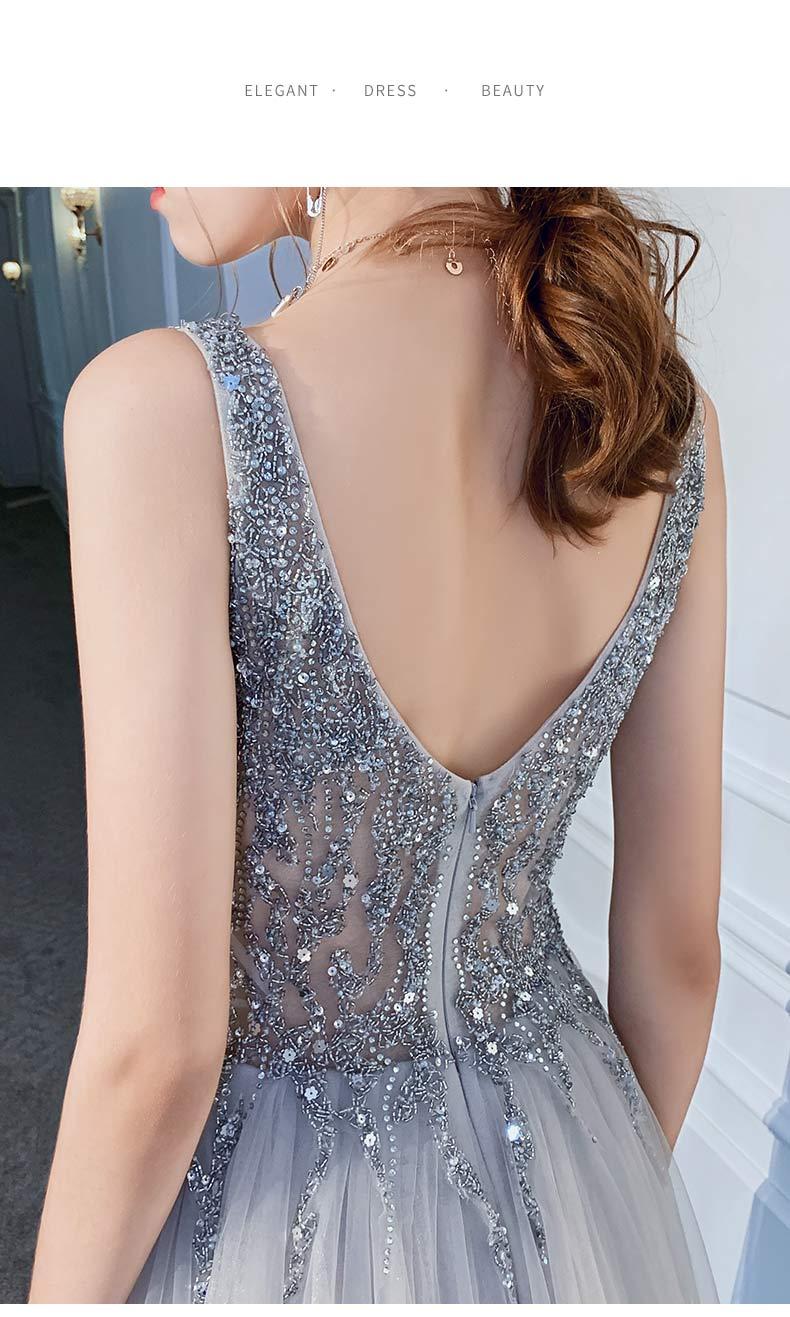 Neue Sexy Silber Grau Abendkleid Lange Abschnitt V ausschnitt Perspektive Netto Garn Stoff Handgemachte Perlen Prom Mode Königin Party Kleid - 6
