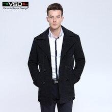 Winter Business Woolen Double Breasted Cotton Patted Overcoat Coat Outwear Placket  Detachable Sobretudo Palto Casual Jacket Men