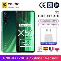 Versão global Realme X50 X 50 5G Smartphone 6GB 128GB Snapdragon 765G 6,57 '' 120Hz Ultra Display 48MP Quad Rear Cams 30W Charge