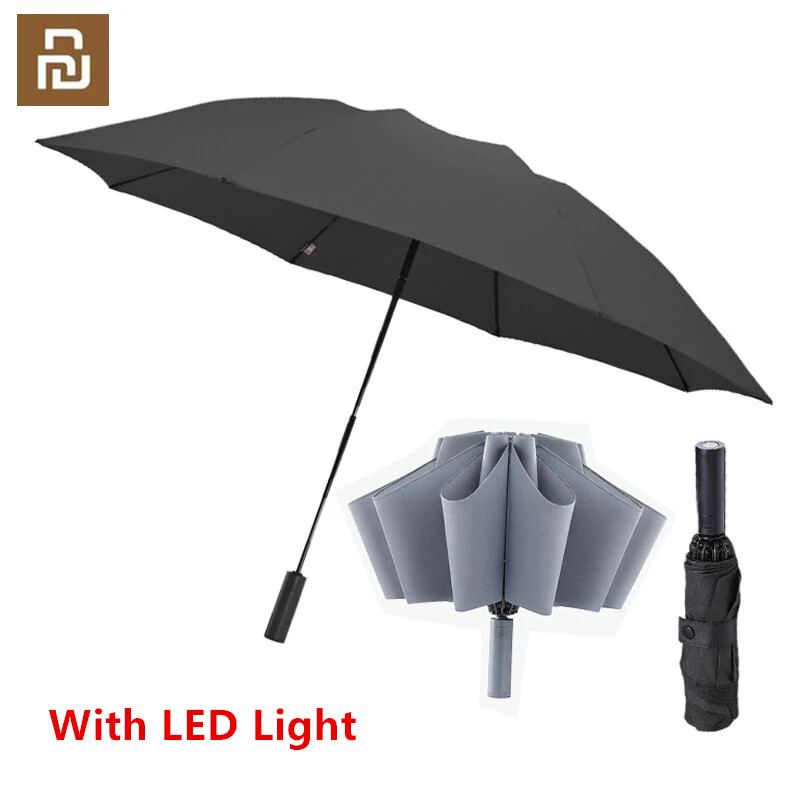 90Fun 8K Automatic Reverse Folding Umbrella Led Luminous Windproof Wind Resistant Umbrella UPF50  Anti UV to youpin