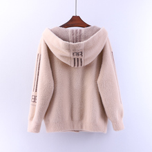 Knitted Cardigans Hooded Mink-Cashmere Long-Sleeve Coat Jacket Loose Winter All-Match