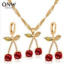 2020 Jewelry Sets Hoop Earrings Cherry Earrings Red Jewelry Set Rhinestones For Women Pendant Necklace/Earrings