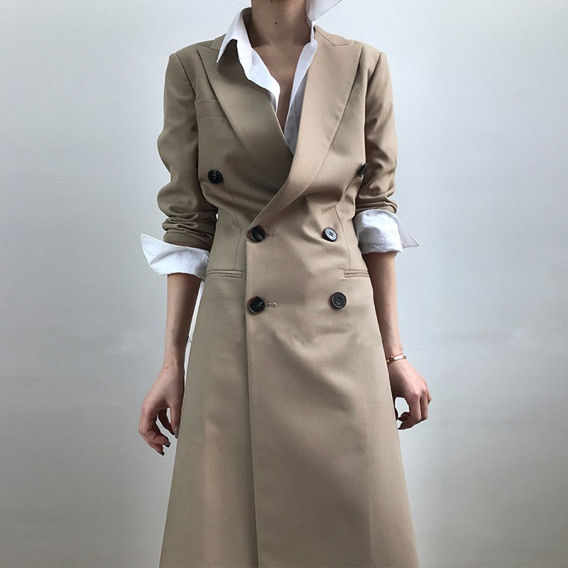 Tunic Long   Trench   Coat Lapel Collar Double Breasted Slim Basic Windbreaker Fashion Ol Clothing